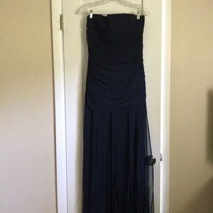 BCBG Maxaxria Navy Waterfall Strapless Dress